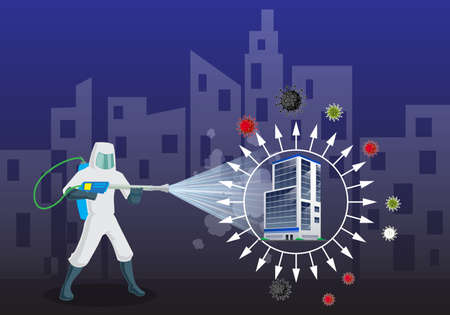 Sanitize office for covid 19 virus disease. Office disinfectant and sensitization with comical spray at office. Vector illustration of Pest control service.