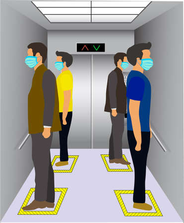 Social distancing in an elevator. Office employees are maintain social distance in lift and elevator for prevention of covid 19 virus. Vector illustration of passenger lift with mask people. Vettoriali