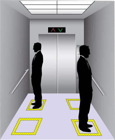 Social distancing at elevator. Vector illustration for lift elevator with social distance. Office employees are maintain distance at lift. Poster for covid 19 prevention. Vettoriali