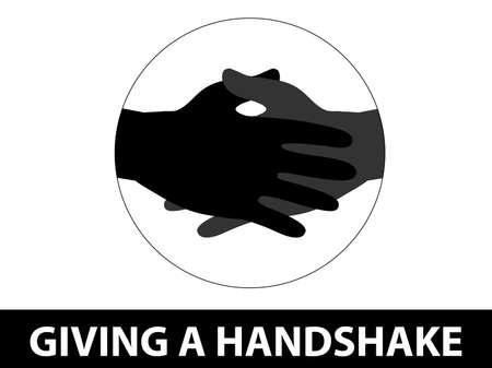Covid-19. Greeting with handshake. Coronavirus Prevention.