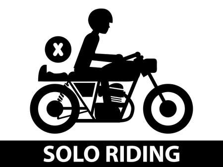Solo riding black and white. Illustration