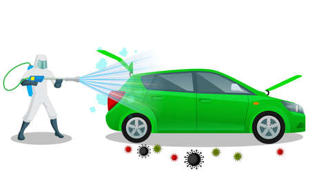 Vehicle sanitize and disinfectant services. Car sanitize for covid 19 disease with proper servicing. Vector illustration car disinfectant. Vektorgrafik