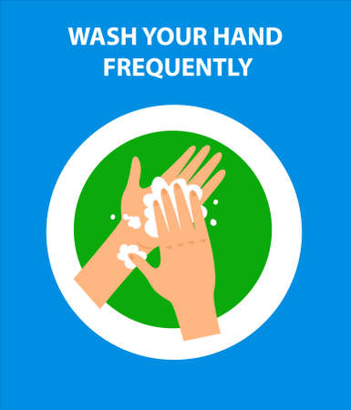 Wash your hand frequently to kill germs and viruses. Poster for covid 19 corona virus. Safety instruction for office employees and staff