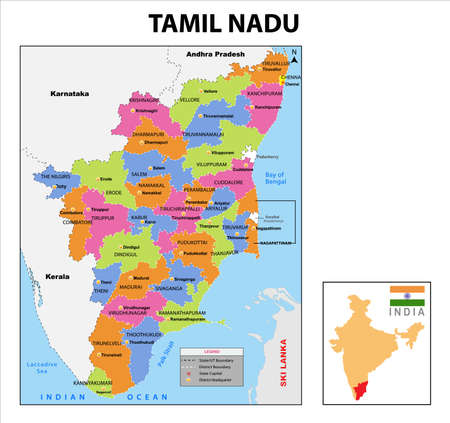 Tamil nadu map. District ways map of tamil nadu with name. Vector illustration of Tamilnadu geographical map. New and original design with showing border line and name. Vektorové ilustrace
