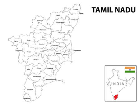 Tamil nadu map. District ways map of tamil nadu with name. Vector illustration of Tamilnadu geographical map. New and original design with showing border line and name.