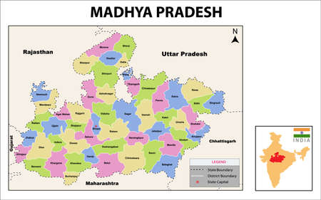 Madhya Pradesh Map. Political and administrative map of Madhya Pradesh with districts name. Showing International and State boundary and district boundary of Madhya Pradesh. Vector of districts map.