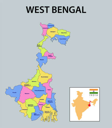 West Bengal map. Showing district boundary of Punjab. Vector illustration of districts map of West Bengal. Colorful map. Vektorové ilustrace
