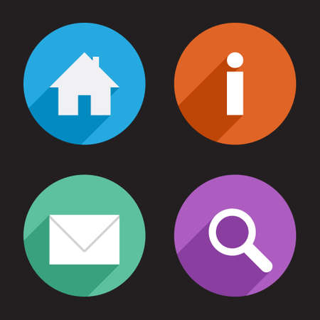 seach: Home, info, email, search flat icon set Illustration