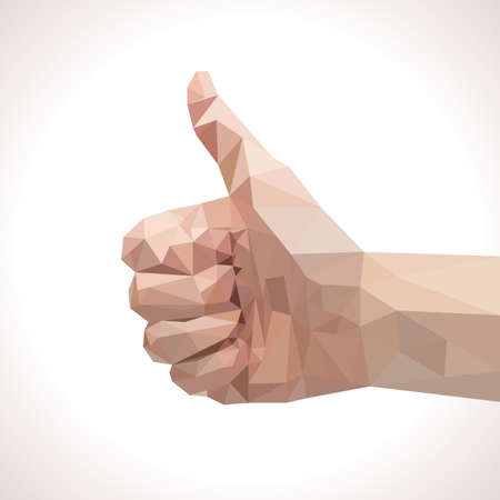 Low polygonal thumbs up illustration Ilustração