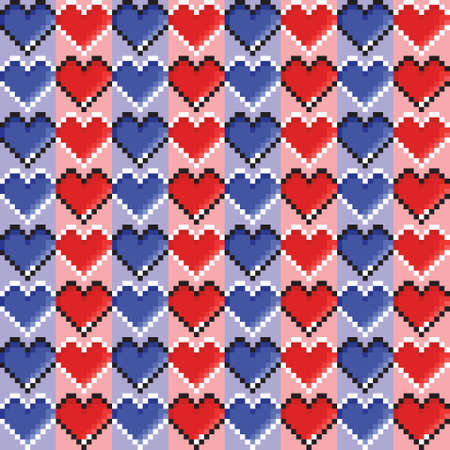 Pixel art blue and red heart pattern background