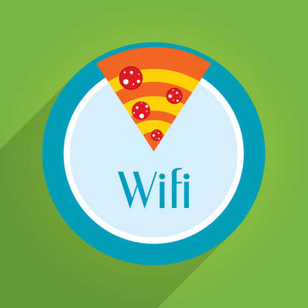 to place: Wifi sign for pizza place Illustration