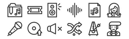 12 set of linear music icons. thin outline icons. Illustration