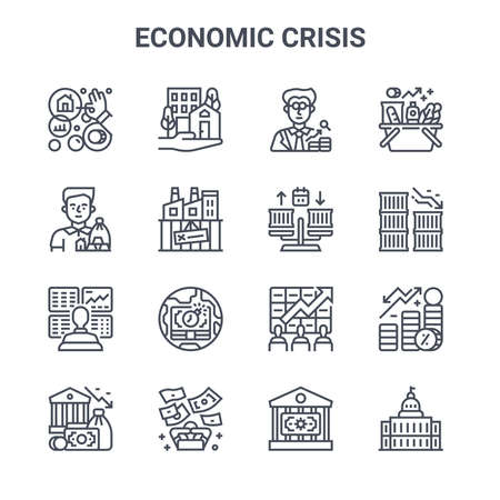 set of 16 economic crisis concept vector line icons. 64x64 thin stroke icons.