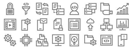development line icons. linear set. quality vector line set. Иллюстрация