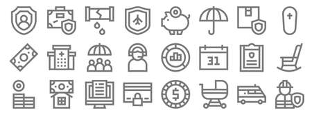 insurance line icons. linear set. quality vector line set.