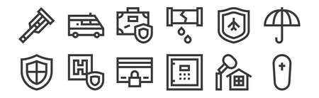 set of 12 linear insurance icons.