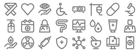 medical items line icons. linear set. Illustration