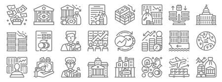 economic crisis line icons. linear set. quality vector line. Illustration