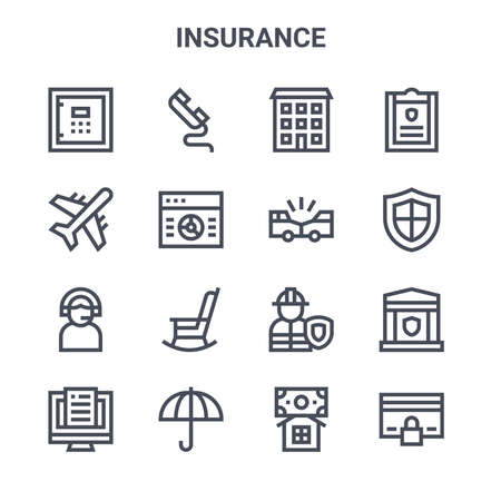 set of 16 insurance concept vector line icons. Stock Illustratie