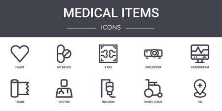 medical items concept line icons set. Illustration