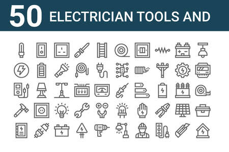 set of 50 electrician tools and icons. outline thin line. Stock Illustratie