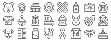 pet shop line icons. linear set. quality vector line set such as cat box, pet shop, stethoscope, dog, yarn ball, bird cage, pet carrier, birdhouse