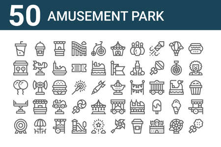 set of 50 amusement park icons. outline thin line icons such as cotton candy, dartboard, balancer, balloons, bullseye, milkshake, fair ship, circus tent, hamburger, theater