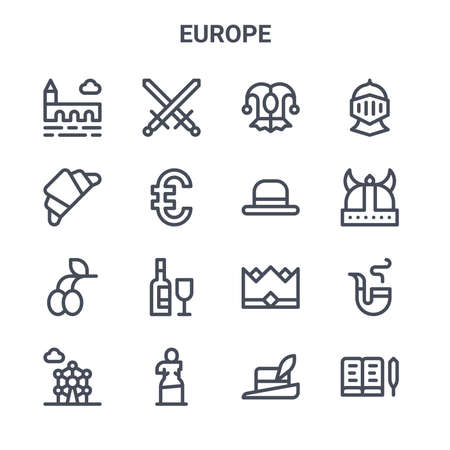 set of 16 europe concept vector line icons. 64x64 thin stroke icons such as crossed, french, viking helmet, crown, sculpture, book, hat, bowler hat, knight