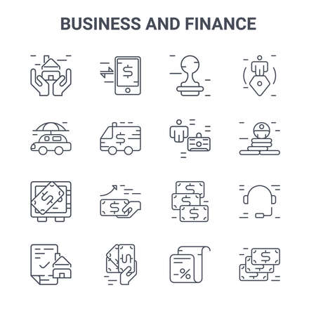set of 16 business and finance concept vector line icons. 64x64 thin stroke icons such as fund, insurance, success, cash, pay, money, tax, manager, life insurance
