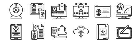 12 set of linear elearning icons. thin outline icons such as tablet, cloud, online learning, elearning, elearning, ebook for web, mobile Vectores