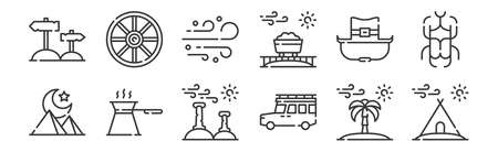 12 set of linear desert icons. thin outline icons such as camping tent, pickup truck, coffee, cowboy hat, sand, wheel for web, mobile Ilustracja