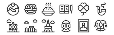 12 set of linear europe icons. thin outline icons such as jester, knight, stonehenge, clover, apple pie, pretzel for web, mobile