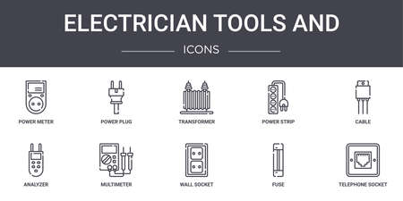 set of 10 electrician tools and concept line icons set. Vector Illustratie