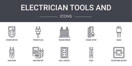 set of 10 electrician tools and concept line icons set. Ilustração Vetorial
