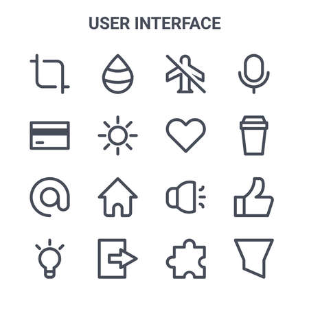set of 16 user interface concept vector line icons. Illusztráció