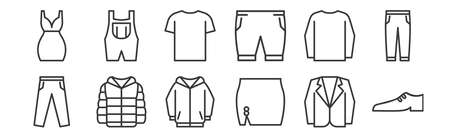 12 set of linear wardrobe icons. thin outline icons such as shoe, female skirt, winter jacket, long sleeves, t shirt, suspenders for web, mobile