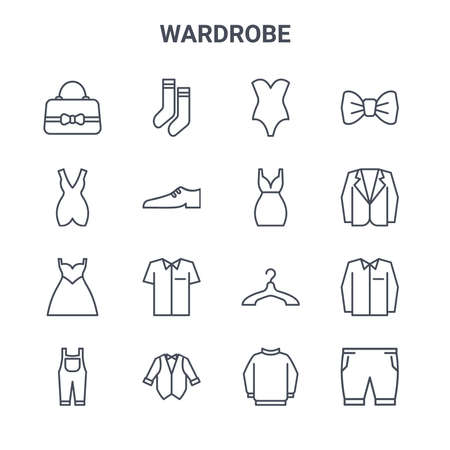 set of 16 wardrobe concept vector line icons. 64x64 thin stroke icons such as socks, short dress, suit, hanger, tuxedo, pants, sweater, short dress, bow tie