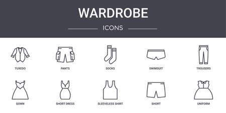 set of 10 wardrobe concept line icons.