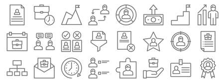 human resources line icons. linear set. quality vector line