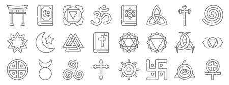 spiritual symbols line icons. linear set. quality vector line set such as paganism, jain, cross, native, horn of odin, valknut, native, jewish, quran