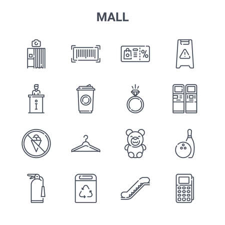 set of 16 mall concept vector line icons.