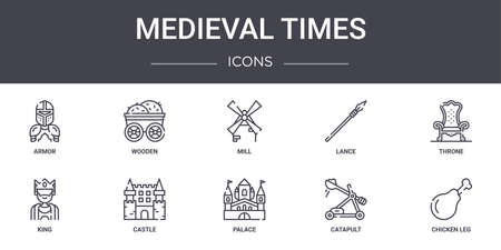 set of 10 medieval times concept line icons.
