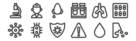 12 set of linear virus transmission icons. thin outline icons such as cough, warning, virus, lung, runny nose, doctor for web, mobile
