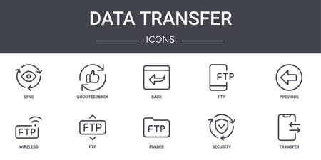 set of 10 data transfer concept line icons.