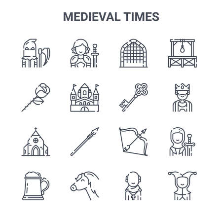 set of 16 medieval times concept vector line icons.