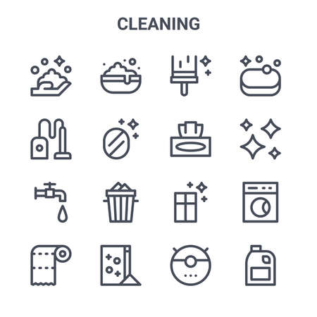 set of 16 cleaning concept vector line icons. Vectores