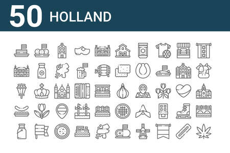 set of 50 holland icons. thin outline