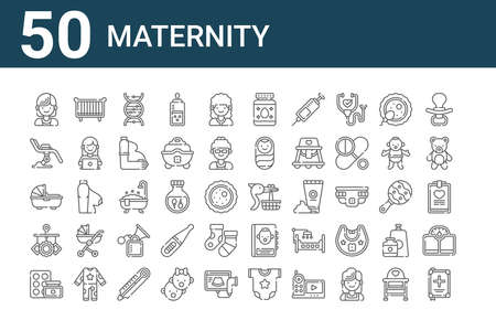 set of 50 maternity icons. thin outline