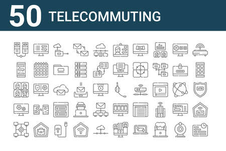 set of 50 telecommuting icons. thin outline