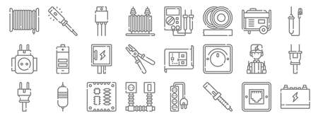 electrician tools and line icons. linear set. quality vector